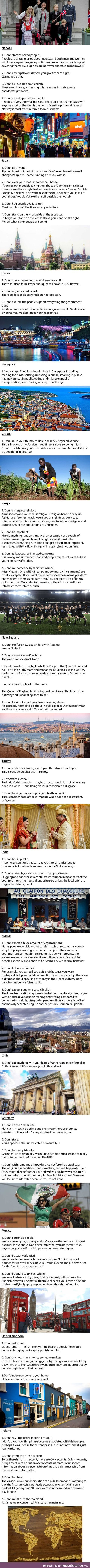 What not to do in some countries
