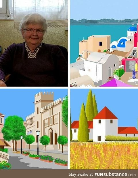 87-year-old woman uses MS Paint to create idyllic landscape art