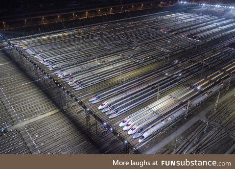 Wuhan High speed train depot,world's largest train Maintenance base