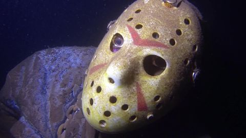 Somebody put a convincing statue of a Jason Vorhees at the bottom of a lake