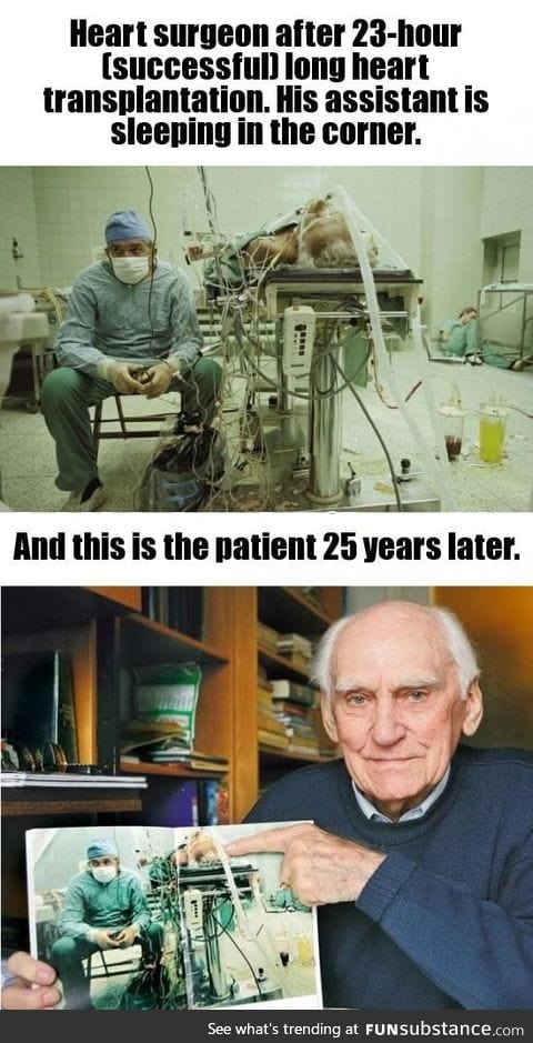 Heart surgeon after 23-hour long heart transplantation
