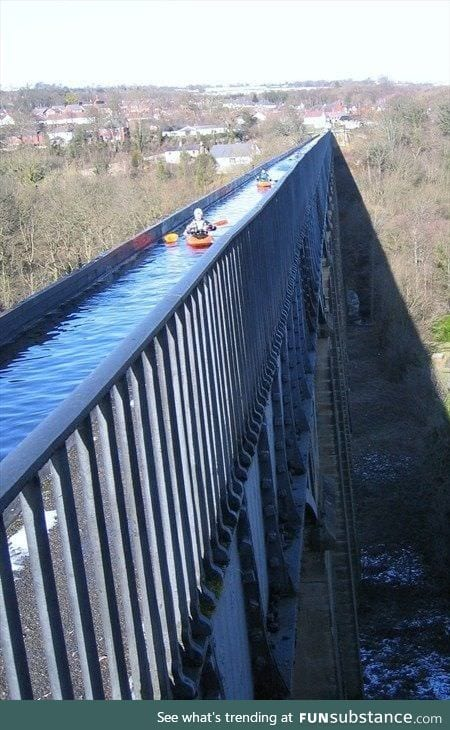 Situated in north-eastern Wales, the 18 Km long Pontcysyllte Aqueduct and Canal is a feat