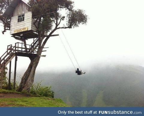 Treehouse swing in Ecuador