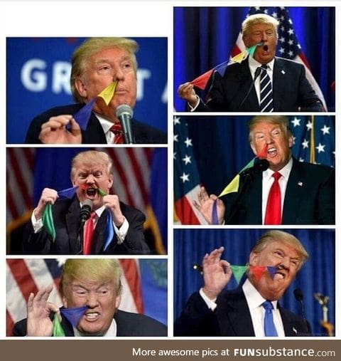 Someone photoshopped Donald Trump pulling colored flags out of his nose