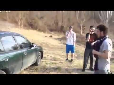 Guy Attempts To Break Car Window With His Head