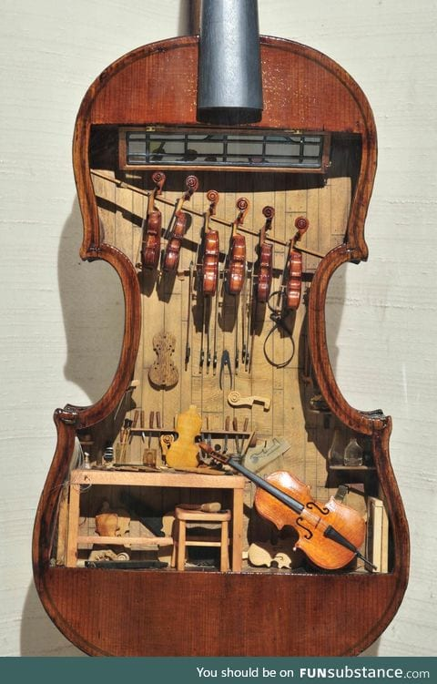 A tiny violin shop inside a violin