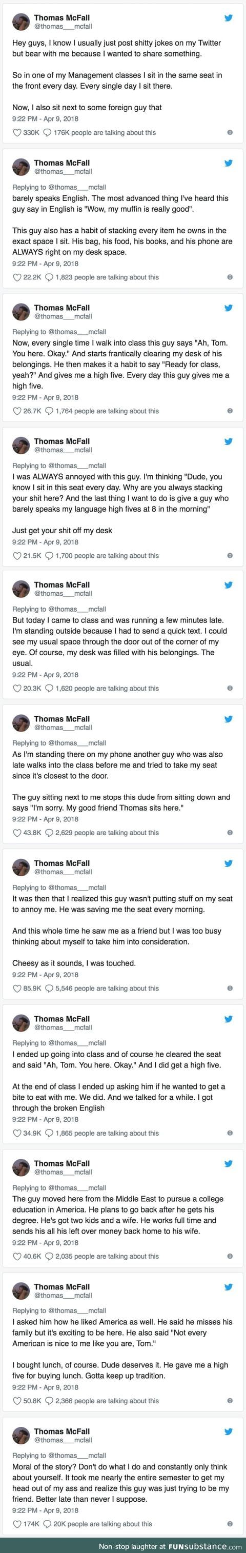 He called out his own ignorance for misjudging a foreign classmate
