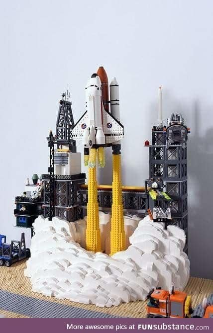 Space shuttle and station made from LEGOS
