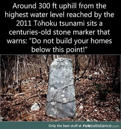 A marker left by the tsunami