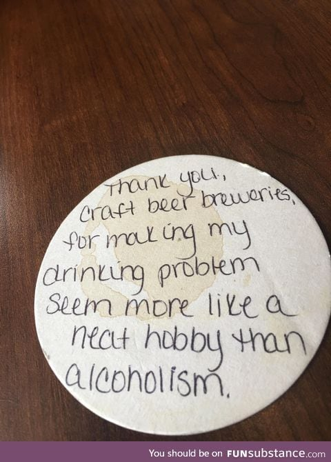 A note left on the coaster of a brew pub