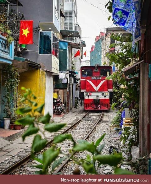 Railway in Hanoi, Vietnam