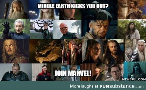 Middle earth kicks you out?. Join marvel!