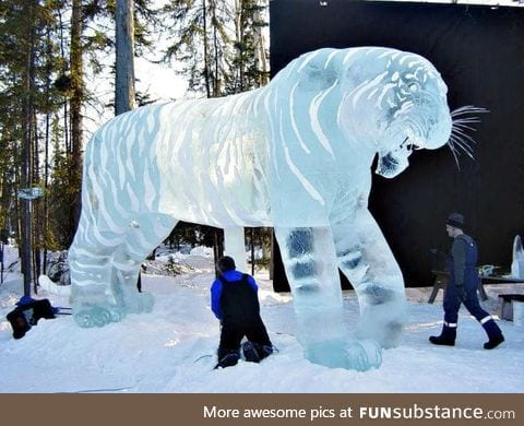 Awesome tiger ice sculpture