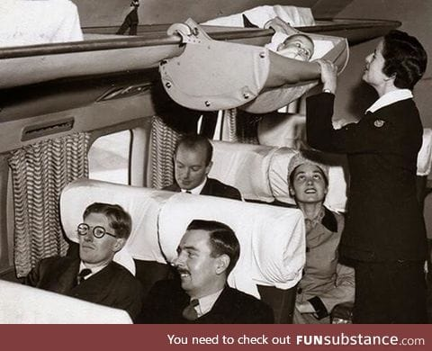This is how babies used to fly on airplanes
