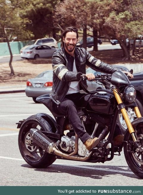 Keanu Reeves on his custom-designed motorcycle