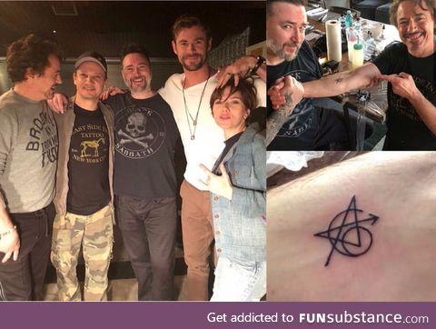 The original Avengers got a matching tattoo