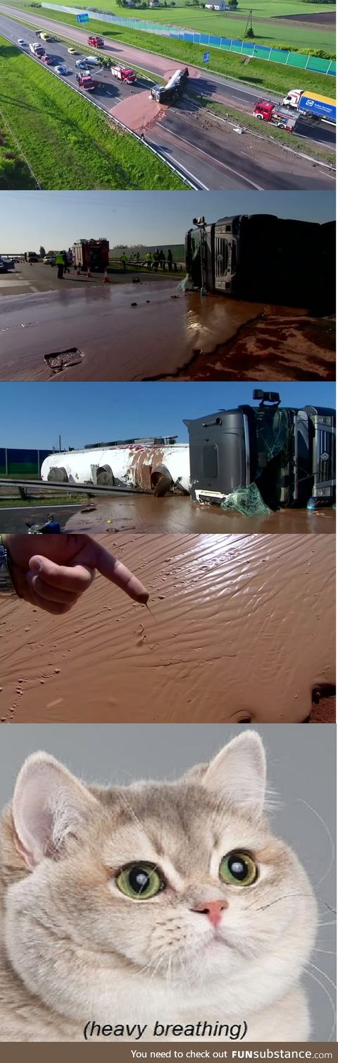 Truck carrying chocolate flipped over on a highway