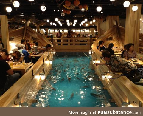 A Restaurant In Japan where you can catch your fish and have it cooked as your dinner