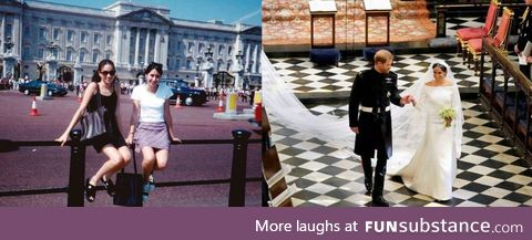Meghan Markle outside Buckingham Palace aged 15, 22 years ago and today marrying a royal