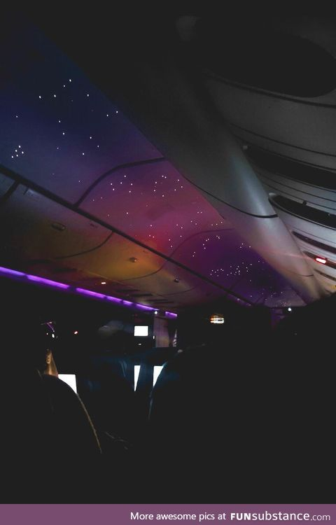 Airplane with soothing night lights