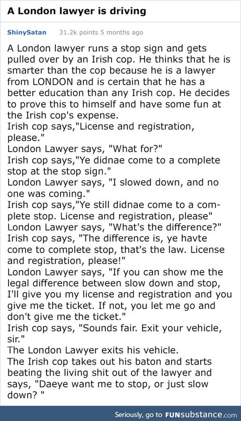 A london lawyer and an Irish cop