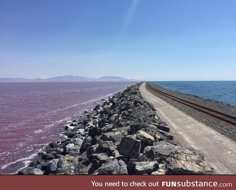"""The Contrasting Colors Between the Two """"Sides"""" of the Great Salt Lake"""