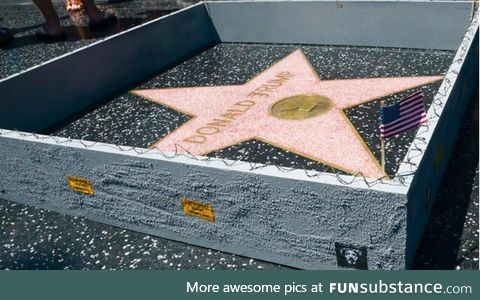 Man builds tiny wall around Trump's Hollywood star