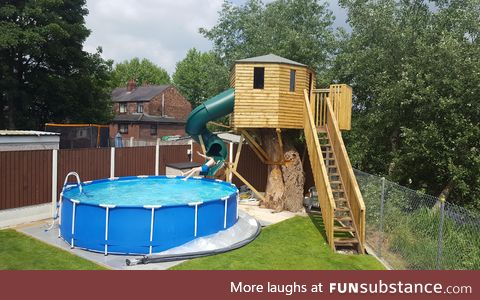 Homemade Treehouse / Waterslide combo