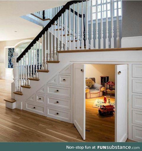 Hidden Playroom underneath the stairs