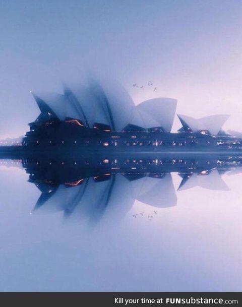 Sydney Opera House on a foggy day