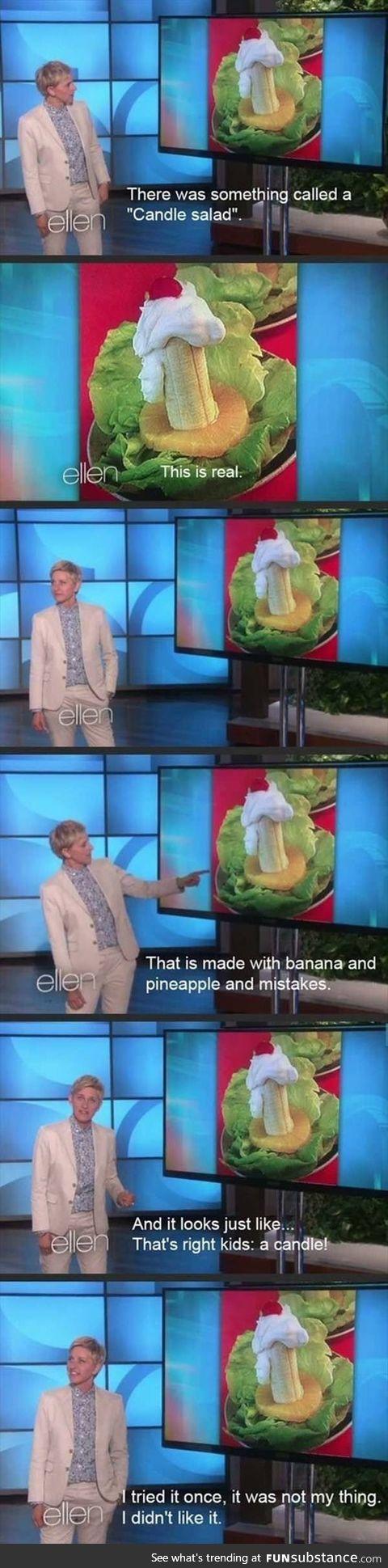 Ellen on candle salad