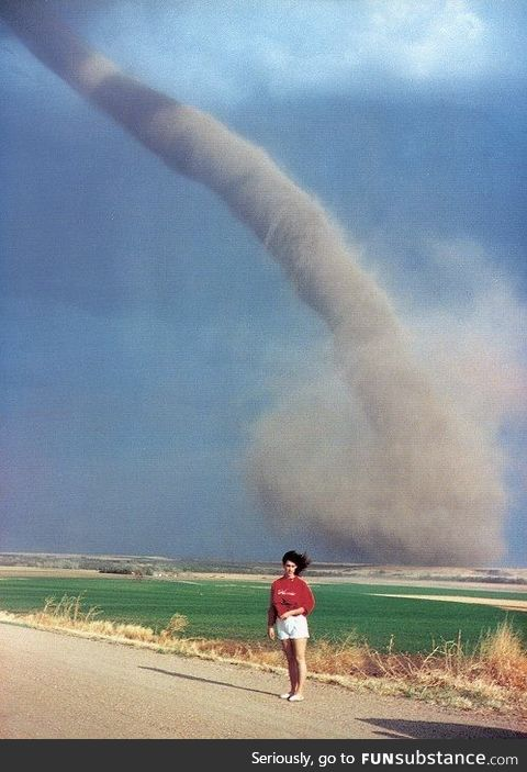 Just a woman posing with a tornado, 1989