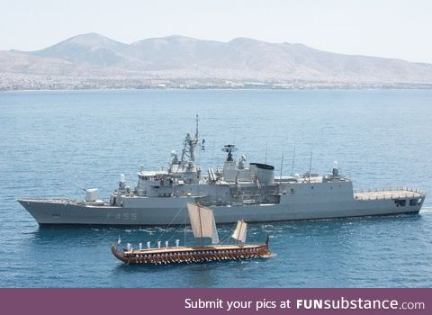 2500 years of naval history in one photo, a modern Greek frigate, and its ancient