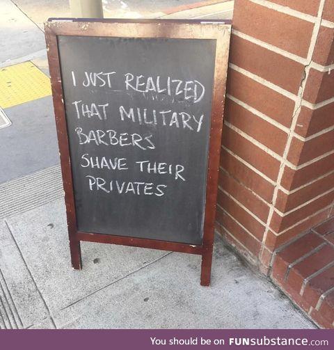 A sign at a bar