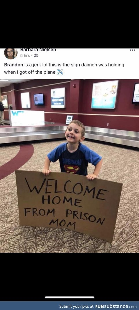Welcoming mom home from the airport