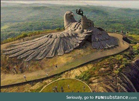 The world's largest bird sculpture in Jatayupara, India