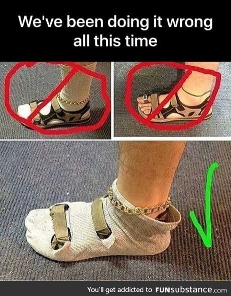 The correct way to wear sandals with socks