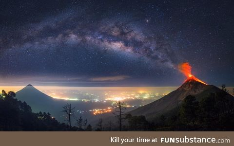 This volcano in Guatemala looks like it's erupting the Milky Way