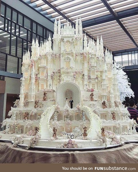 Indonesian castle wedding cake