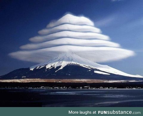 Cloud formation above Mt Fuji