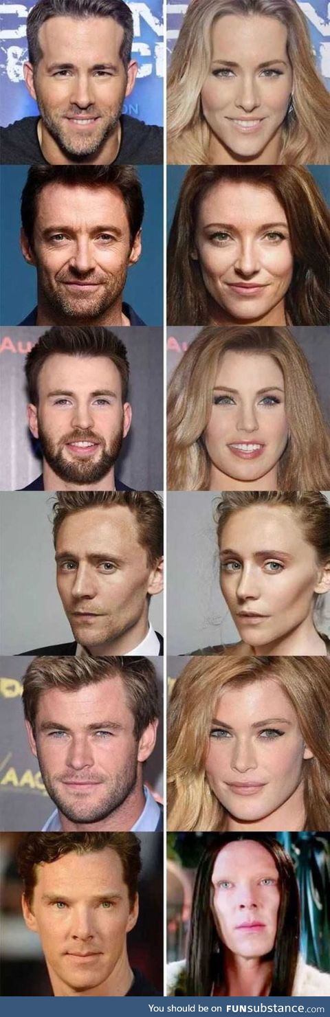 When male celebrities becomes females