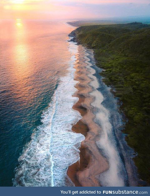 Waves transformed the beach shores