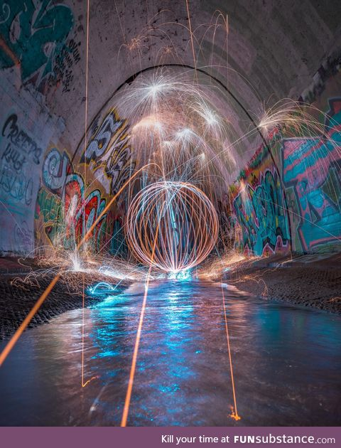 Controlled Chaos. Spinning steelwool