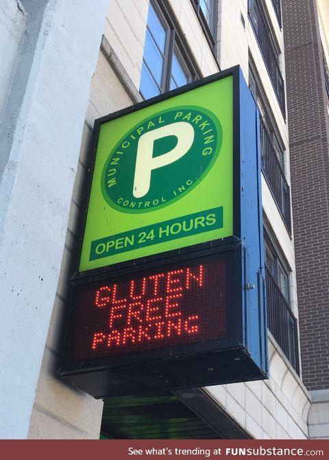 It's so hard to find gluten free parking these days!