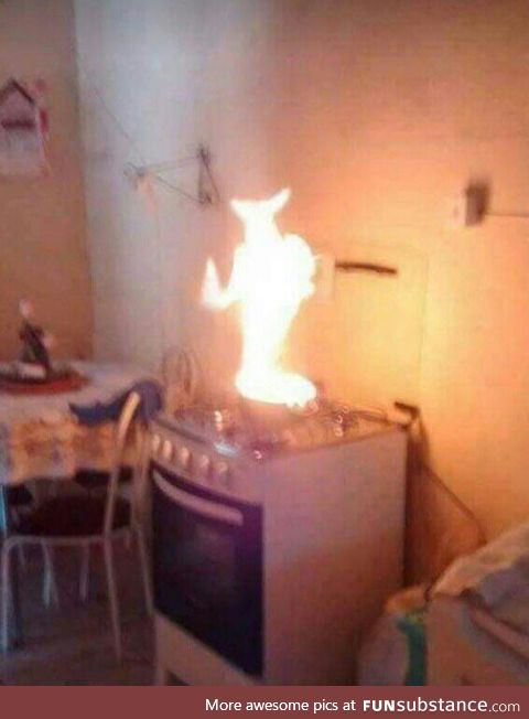 When you try to cook for the first time but end up summoning a demon