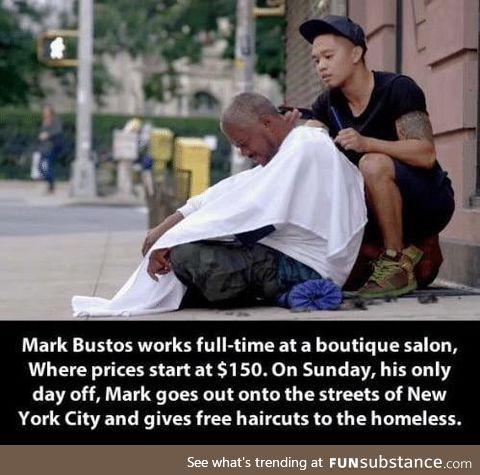 Mark Bustos - Hairdresser for the homeless