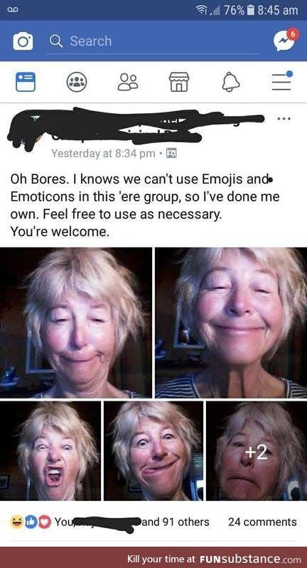 When emojis are banned... Adapt, overcome, selfiemoji