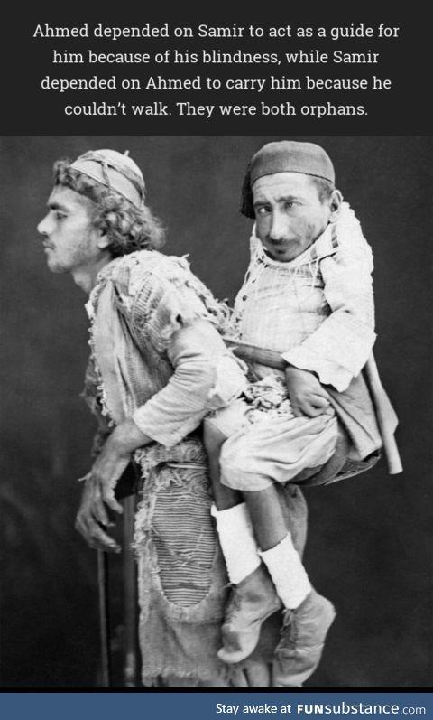Ahmed, a blind man, carrying polio-ridden dwarf Samir