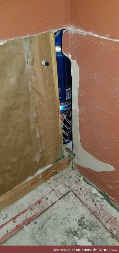 Removing drywall due to flooding, and I find this located in a corner. It goes up a few