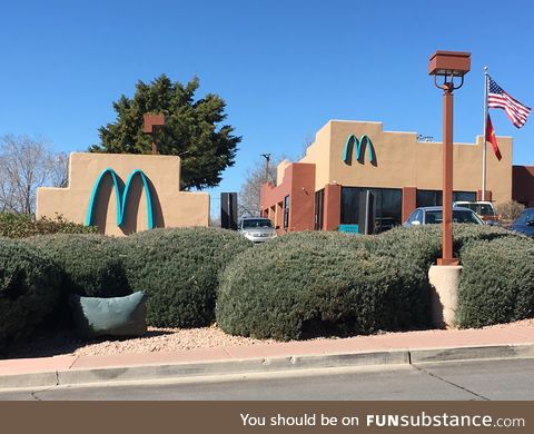 McDonald's change their sign to turquoise to better fit in with the aesthetics of the town